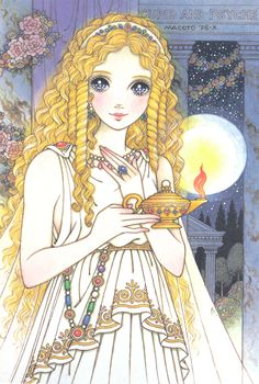 Art by Macoto Takahashi, found via tumblr haruchonns. Anime, manga, egyptian, moon light, beauty, princess, illustration.