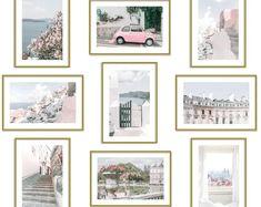 Pink Wall Art Set of 9 Prints Pastel Room Decor Italy Greece Paris Pink Wall Art, Wall Art Sets, Teen Bedroom Designs, Bedroom Ideas, Bedroom Wall, Bedroom Decor, Wall Decor, Wall Collage, Wall Art Prints