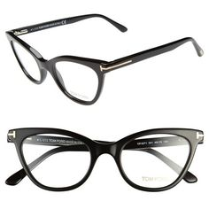 Tom Ford 49mm Cat Eye Optical Glasses (Online Only) Shiny Black One Size ($405) found on Polyvore
