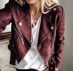 suede jacket somewhere between maroon and mauve