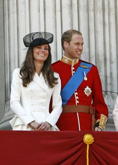 The Duke and Duchess on the Buckingham Palace balcony for the military plane flypast.