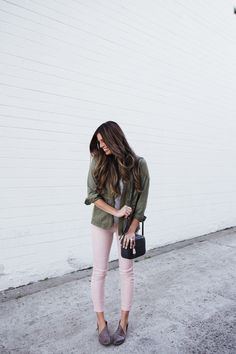 my favorite blush pink pant and my green army jacket