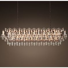 "19th C. Rococo Iron & Clear Crystal Rectangular Chandelier 73"" ($4,395) ❤ liked on Polyvore featuring home, lighting, ceiling lights, all ceiling lighting, iron light, rectangular crystal chandelier, restoration hardware lighting, crystal chandelier lighting and iron crystal chandelier"