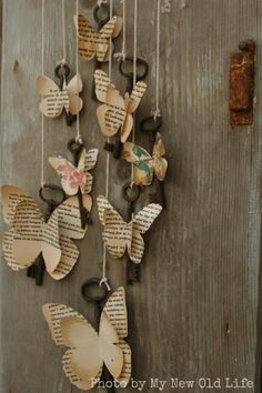 My New Old Life: Mademoiselles des ideès: Tutorial Chiavi Alate - Paper Bag Old Book Crafts, Book Page Crafts, Newspaper Crafts, Paper Butterflies, Paper Flowers, Diy Paper, Paper Art, Diy Crafts For Kids, Arts And Crafts