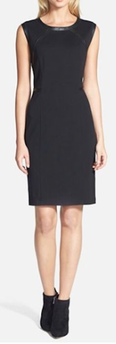 leather trim knit sheath dress  http://rstyle.me/n/msdrepdpe