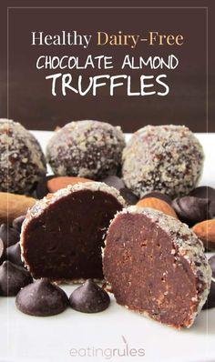 These healthy, dairy-free chocolate-almond truffles offer both satisfaction and nourishment – something that cake can't do!