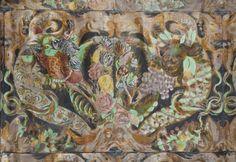 Gyllenläderstapet, stormönstrad med hög relief (sjekk maling av store tulipaner) - Skoklosters slott