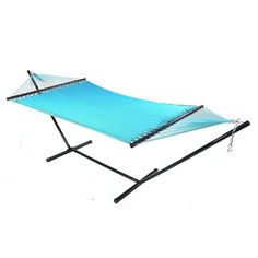 Sunnydaze Large 2-Person Rope Hammock with Spreader Bar & Hammock Stand (Sky Blue) (Polyester) #Sunnydaze Decor, Patio Furniture