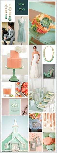 Mint + Peach #color #palette by Aida Ines. This is for a wedding but would be great for theme colors.