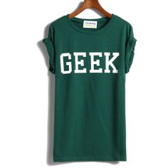 SheIn(sheinside) Green Short Sleeve GEEK Print T-shirt (130 MAD) ❤ liked on Polyvore featuring tops, t-shirts, shirts, t shirts, green, green t shirt, pattern shirts, short sleeve cotton shirts, short sleeve shirts and green tee
