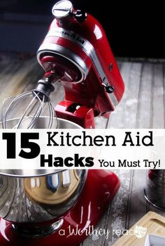 15 Kitchen Aid Hacks You MUST Try - Mixer - Ideas of Mixer - There are so many different things you can do with a Kitchen Aid Mixer beside baking. Read 15 Kitchen Aid Hacks You Must try to find other ways to use your Kitchen Aid Mixer. Kitchen Aid Recipes, Kitchen Hacks, Kitchen Gadgets, Cooking Gadgets, Kitchen Ideas, Kitchen Aid Mixer Attachments, Kitchen Mixer, Red Kitchen Aid, Kitchenaid Attachments