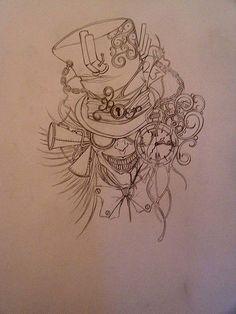 Steampunk Tattoo Designs | Tattoo Design mad hatter sketch | Flickr - Photo Sharing!