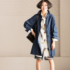 Causel Loose Big Size Long Cowboy Coat Simple Jacket Blouse Women Clothes