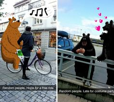 There is more to Snapchat than just sending selfies. A Norwegian Instagrammer who goes by the username @geeohsnap refrains from selfies and even people he knows. His Snapchat forte involves complete strangers. He uses the app to doodle colorful characters and accents into the scene, making the world a whole lot brighter.  Read more at http://www.visualnews.com/2014/10/28/artist-uses-snapchat-doodling-make-unsuspecting-strangers-look-lot-interesting/#e1rOcdBQjlZKh6k7.99
