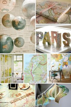 Deko mit Landkarten