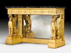 "Important console ""aux griffons"",  Empire, probably Send by FHG JACOB-Desmalter (François Honoré Georges Jacob-Desmalter, 1770-1841), Paris, about 1810/15. Sold for CHF 210 000. Photo Koller Auctions"