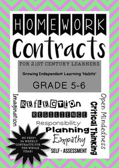 NO PREP! Weekly Homework for Grade 5 or Grade 6 students for a WHOLE YEAR!These 32 contracts are ORIGINAL and allow for students to choose some of the direction of their learning. Each weekly contract can be glued into a learning journal or scrapbook.