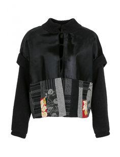 Куртка из кожи и шерсти с принтом - Обтравка
