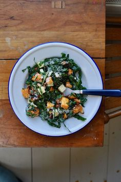 Kale Salad with Winter Squash Kale Salad, Test Kitchen, Butternut Squash, Risotto, Almonds, Eat, Ethnic Recipes, Winter, Food