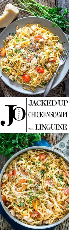 This Jacked-Up Chicken Scampi with Linguine is my fresh take on a classic Italian dish. This chicken scampi bursts with mouth-watering flavors like bright lemon, perfectly al dente linguine and cooked down tomatoes. Pasta Recipes, Chicken Recipes, Dinner Recipes, Cooking Recipes, Healthy Recipes, Dinner Ideas, Chicken Scampi Recipe, Linguine Recipes, Rice Recipes