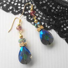 Boucles d oreille dorée Cristal Swarovski  argent 925 bleues bijoux de créateur