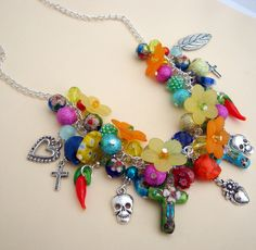 Day of the Dead necklace with skulls charms and by PirateTreasures
