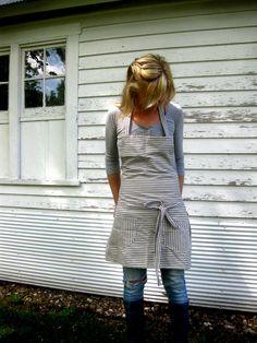 Rustic Full Kitchen Apron for Men or Women in Blue Pinstripe Ticking