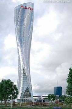 Torre Elipse Día Nublado - Modelado con 3ds Max 2014 y Vray.