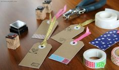 Gift Tags Made from Old Cereal Boxes | 51 Seriously Adorable Gift Tag Ideas Use a christmas stamp and washi tape