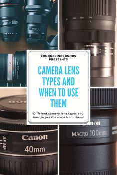 Ever notice how many camera lenses are out there to choose from and wonder why? Check out my post explaining some different camera lens types and their uses. - Conquering Bounds - types of camera lenses - camera lens types Dslr Photography Tips, Photography Lessons, Photography For Beginners, Photoshop Photography, Photography Equipment, Photography Tutorials, Camera Lenses Explained, Best Camera Lenses, Photo Tips