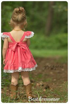 Boutique Dress Handmade Coral Pinafore w/bloomers by BestDressEver