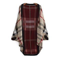 SheIn(sheinside) Red Khaki Batwing Sleeve Plaid Cardigan ($21) ❤ liked on Polyvore featuring tops, cardigans, plaid, khaki, poncho, red, tartan top, batwing sleeve cardigan, red plaid top and red cardigan