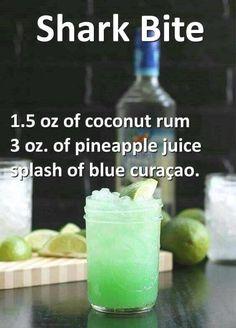 Shark oz coconut rum, 3 ozpineapple juice, and a splash of blue curaçao. - Vegan New Recipes alcohol recipes Shark oz coconut rum, 3 ozpineapple juice, and a splash of blue curaçao. Liquor Drinks, Cocktail Drinks, Alcoholic Beverages, Alcholic Drinks, Halloween Alcoholic Drinks, Alcohol Drink Recipes, Alcohol Shots, Fruity Alcohol Drinks, Alcohol Bar