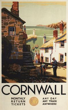 Print (Cornwall, England - Street Scene with Two Men Working Railway - Vintage Travel Poster)