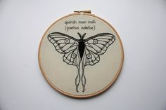 Hand Embroidered Moth. Modern Embroidery by ShinyFabulousDarling