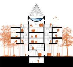 People and trees silhouettes with color - Silueta de gente y vegetacion en color solido //  Water tower 2.0 in Wronki, Poland - Adam Wiercinski