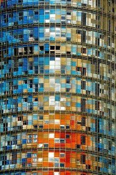 Détail de Torre Agbar à Barcelone, Espagne.