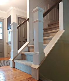DIY Stair Railing Makeover - The Painted Home by Denise Sabia Wood Railings For Stairs, Redo Stairs, Diy Stair Railing, Interior Stair Railing, Wall Railing, Bannister, Railing Ideas, Stair Newel Post, Stair Posts
