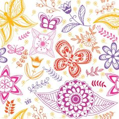 Summer Pattern Graphic available in EPS vector format // background, butterfly, colorful, cute, decoration, flowers, illustration, pattern, seamless, summer, vector, wallpaper