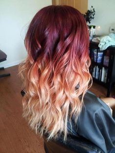 So ombre hair is probably 'dated' now.but I'm sorry this crimson through to pe. So ombre hair is Fall Hair Colors, Hair Dye Colors, Ombre Hair Color, Cool Hair Color, Hair Colour, Color Streaks, Pastel Ombre, Brown Ombre Hair, Pelo Color Borgoña