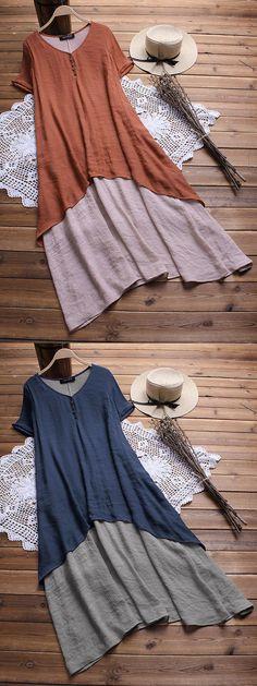 Irregular Fake Two Pieces Short Sleeve V-neck Vintage Dresses #dresses #summer #casual