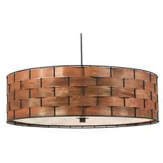 A chunky basket weave with a rich wood grained glow to form this stunningly simple and elegant drum pendant. Delicate real wood strips thread around a sturdy metal frame to complete the look of this beautiful fixture.