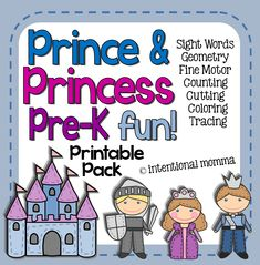 Prince and Princess Printable Pre-K Pack! Tons of fairytale fun and simple learning worksheets, great for a rainy day! Fine motor skills, math, language arts, coloring, cutting, tracing, and more! 41 pages. Includes castle, knight, prince, princess, queen, king. Preschool, kindergarten, homeschool.