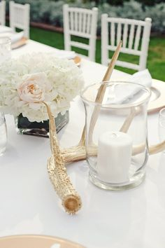 White Reception Table Decor With Gold Antlers