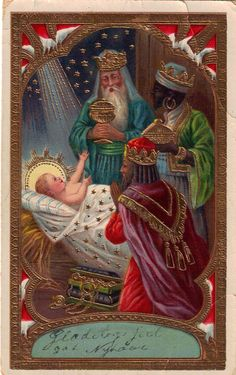 Three Wise Men and The King Christmas Nativity, Christmas Past, Christmas Pictures, Christmas Projects, Vintage Holy Cards, Images Vintage, Victorian Christmas, Vintage Christmas Cards, Christmas Postcards