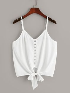 Shop Lace Insert Knot Hem Cami Top at ROMWE, discover more fashion styles online. Cami Tops, Cami Crop Top, Camisole Top, Plus Size Tank Tops, Girl Outfits, Fashion Outfits, Eyelet Lace, Lace Insert, Chiffon Fabric