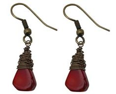 Red Coral Hand Wire Wrapped Earrings by Classic Legacy perfect for Valentine's Day!