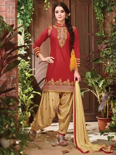 Stunning red and beige festival wear cotton designer patiyala salwar suit. Having fabric cotton and nazneen. The beautiful embroidery work, thread work and resham embroidery work on the attire adds a sign of beauty statement to your look. Comes with matching bottom and dupatta #mydesiwear #SalwarSuits #Georgette #CasualSalwarSuits #CottonSuits #CasualWear #Valentines #valentinesWeek #PattiyalaSuits #valentinedaygift2018 #valentinegiftsforher #SpreadtheLove #DiscountOffers…