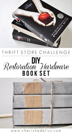 Create this beautiful Restoration Hardware Book Set at a fraction of the cost using thrift store finds. These books are the perfect accessory for any style.