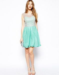 Image 4 ofChi Chi London Skater Dress with Lace Top